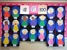 Self portraits of kindergarten kids at age 100. How cute is this??? Add descriptive words and a sentence or two...
