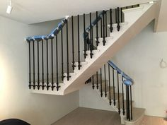 a portland cantilever stone staircase in London. the steps are solid and heated !
