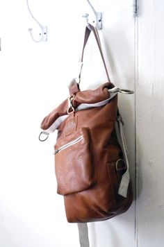 Brown Leather Roll Top Sack by on Etsy Leather Roll, Leather Craft, Brown Leather, Leather Bags, Soft Leather, Bolo Hippie, Look Fashion, Fashion Bags, My Bags