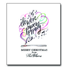 """Eleventh Day of Christmas Tea Towel Approx. 20""""W x 30""""L. Up to 20 characters for personalization. 100% Cotton. Message: """"Eleven Pipers Piping - Merry Christmas from ___________"""""""