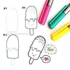I don't think this really needed a how to. I love drawing cute ice lollies. so I HAD to More doodle how tos can be found at What should I draw next? Kawaii Drawings, Love Drawings, Doodle Drawings, Easy Drawings, Doodle Lettering, Hand Lettering, Banners Bullet Journal, Bujo Doodles, Planner Doodles