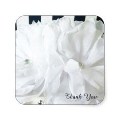 Blue roses flower pattern tote bag white romantic floral thank you square sticker wedding stickers unique design cool sticker gift idea negle Images