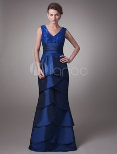 Royal-Blue-V-Neck-Ruffles-Beaded-Chiffon-Elastic-Woven-Satin-Mother-Of-Bride-And-Groom-Dress-17574-1