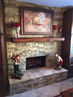Here's a gorgeous mantel we were able to manufacture/install from one of the reclaimed Michigan beams at the Porter Barn Wood Lot. It's a floating mantel that we put in prior to the stone facade. White Wash Brick Fireplace, Diy Fireplace Mantel, Wood Mantels, Fireplace Remodel, Fireplace Design, Fireplace Ideas, Fireplace Mantles, Mantle Ideas, Mantel Shelf