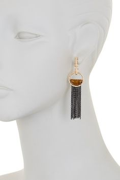 Image of Steve Madden Two-Tone Textured Circle Tiger's Eye Earrings