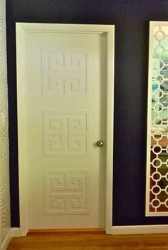 Below, stuck with ugly plain doors in your home? Dress them up instantly with Greek key panels from O'verlays.