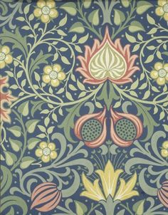 """Persian"", Wallpaper Sample Book, William Morris and Company, before 1917 Leicester, Wallpaper Samples, Arts And Crafts Movement, William Morris, Pretty Flowers, Art Decor, Decor Ideas, Art Nouveau, Drawings"