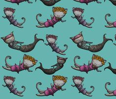 Mermaid Cats fabric by miss_ella on Spoonflower - custom fabric