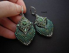 Swarovski crystals, beads Japanese brand. Miyuki (Ag925 silver plated) and zn.Toho (in green shades), jewelery hook without nickel content, Firelin