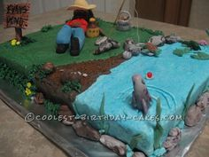 Coolest Fishing Cake ... This website is the Pinterest of birthday cakes