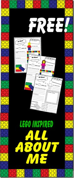 FREE All About Me Worksheet (Lego Style) - great for kids to fill out the first day of school to remember their handwriting, hobbies, interests, etc.Preschool, Kindergarten, and elementary age kids. LOVE THIS!!  Using this for back to school.