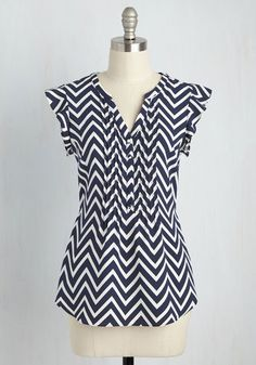 Expert in Your Zeal Top in Chevron by ModCloth - Mid-length, Chevron, Work, Woven, Better, Exclusives, Variation, Private Label, V Neck, Blue, White, Buttons, Cap Sleeves, Summer, SF Fit Shop