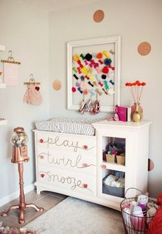 Dress up your daughter's dresser! A cute way to add some character to a normal piece of furniture. #kidsroomdecor #girlsroomdecor