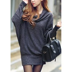 Wholesale Stylish Draped Collar Long Sleeve Loose-Fitting Dress For Women Only $3.02 Drop Shipping | TrendsGal.com