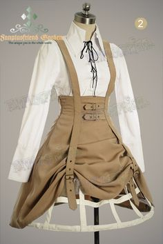 high waisted suspender skirt - steamPUNK - ☮k☮