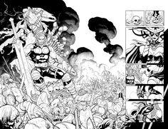 Thor and Hela Double Page Splash Comic Art