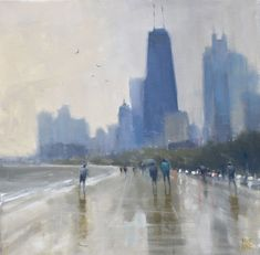 """""""Summer Shower - Chicago"""" by Mike Barr. Paintings for Sale. Surf, Rain Painting, A Level Art, Buy Art Online, Australian Artists, Paintings For Sale, Online Art Gallery, Collage Art, Chicago"""