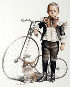 Joanne Thompson ORIGINAL Pastel Painting of Boy, Bike, and Cat ~ RARE ~ SIGNED #Realism