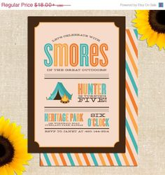 MEMORIAL DAY SALE Camping Birthday Party  by YellowBrickGraphics