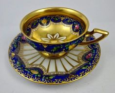 Antique Late 19th CenturyLamm Dresden Oversized Cup & Saucer - Deep Royal Blue & Gold w/ Small Heart Decoration - circa 1890s - Coffee Cup Tea Cup