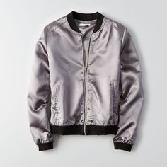 Don't Ask Why Metallic Bomber ($50) ❤ liked on Polyvore featuring outerwear, jackets, metallic, bomber style jacket, american eagle outfitters, metallic jacket, metallic bomber jacket and bomber jacket
