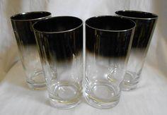 4  Vintage  Glasses Hollywood Regency   Silver by trixzstreasures, $40.00