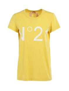 Pure cotton round-neck T-shirt Logo white Neck T Shirt, Pure Products, Yellow, Logos, Mens Tops, Cotton, Shirts, Women, Fashion