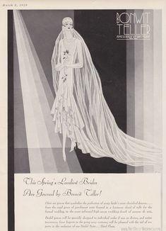 Vintage Art Deco Wedding Gown    Vogue Advertisement