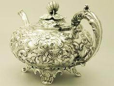 Old tea pots | Sterling Silver Teapot - Antique Victorian