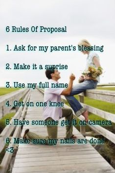 6 rules of proposal Ask my parents for their blessing Get on one knee Use my fu. - 6 rules of proposal Ask my parents for their blessing Get on one knee Use my full name Etc… - Cute Wedding Ideas, Wedding Goals, Wedding Tips, Perfect Wedding, Our Wedding, Dream Wedding, Wedding Details, Wedding Pictures, Best Wedding Proposals