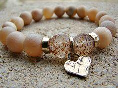 Agate Bracelet Druzy Bracelet Bronze Charm by BeJeweledByCandi
