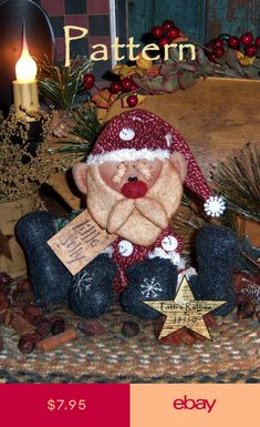 Primitive Patti's Ratties Little Jolly Santa Christmas Doll Paper Pattern 219 Diy Christmas Decorations For Home, Fabric Christmas Ornaments, Christmas Sewing, Christmas Wreaths, Christmas Crafts, Christmas Windows, Christmas Gingerbread, Santa Christmas, Rustic Christmas
