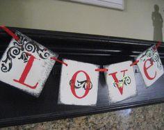 Valentine Decoration LOVE Red and Black Banner Garland Sign