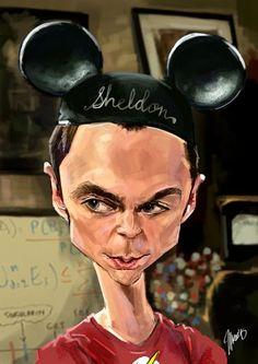 """Caricatura del actor Jim Parsons, en el papel de el Dr. Sheldon Cooper, de la serie de TV """"The..."""