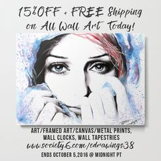 ✰ 15% OFF + FREE Shipping on All Wall Art Today ✰ https://society6.com/edrawings38?curator=edrawings38 ✰ #freeshipping #wallart #walldecor #sale #offer #tapestry #artprints #framedprints #canvasprints #metalprints #clock #home #society6 #s6promo #edrawings38 #art #illustration #painting #watercolor #portrait #eyes #woman #female