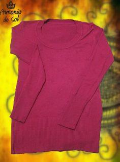 Sweater escote redondo color bordo