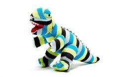Organic Knitted Stripy T Rex