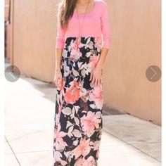Pink And Floral Maxi Shift Dress Vaatimattomat Mekot aa38d2065a