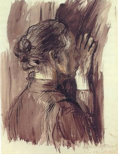 Kathe Kollwitz Self Portrait 1900 pen and brush with black ink Private Collection