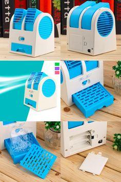 [Visit to Buy] Portable USB Ultra-quiet No Leaves Mini Air Conditioning Fan Aromatherapy Fan ventilador ar condicionado air conditioner #Advertisement