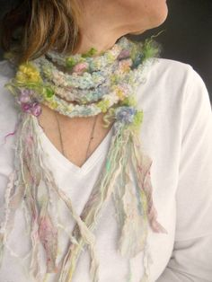 woodland faerie flower garland scarf lariat from by beautifulplace, $49.00