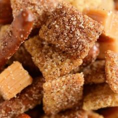 Churro Chex Mix: is absolutely addicting with it's sweet cinnamon sugar coated chex mix, salted pretzels and caramel bites all mixed together in one bite!