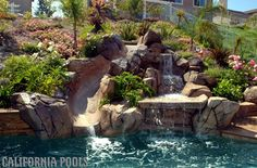 Pool w/ rock waterfall and slide