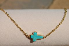 Side Cross Necklace Turquoise by StringofLove on Etsy, $40.00