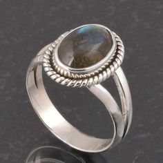BLUE FIRE LABRADORITE 925 SOLID STERLING SILVER FASHION RING 3.87g DJR6371 #Handmade #Ring