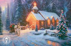 Capilla en navidad / Thomas Kinkade