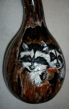 Gourd Birdhouse Baby Raccoon's  Peeking by SharonsCustomArtwork,