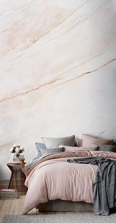 Sofia Vergara Collection Totally obsessing over marble? This faux marble texture wallpaper design will bring a touch of luxury to your home. Beautiful soft shades of pastel pink make up this sumptuous texture. It's perfect for modern living spaces. Marble Bedroom, Accent Wall Bedroom, Accent Walls, Bedroom Wallpaper Feature Wall, Pink Wallpaper Bedroom, Blush Pink Bedroom, Master Bedroom, Bathroom Wallpaper, White Bedroom
