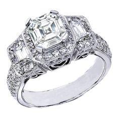 Asscher Cut Diamond Vintage Engagement Ring