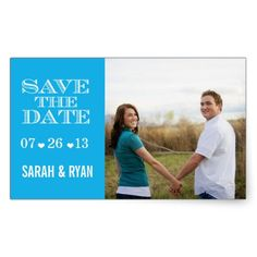 Cute Heart Blue Save the Date Wedding Stickers